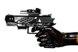 Hand Holding Gun Stained With Engine Oil