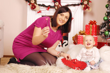happy Christmas mother and baby