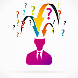 Abstract avatar vector illustration about questions interrogator
