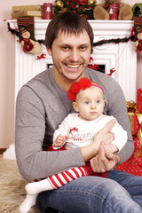 happy Christmas father and his baby