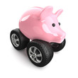 Piggy bank with wheels top view