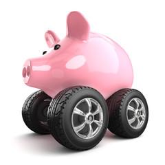 Piggy bank drives to work