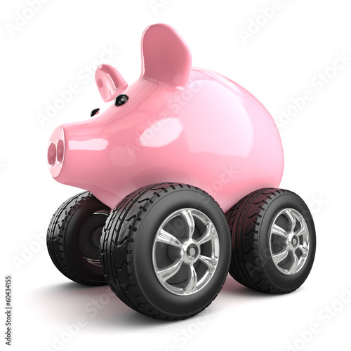Piggy bank drives to work