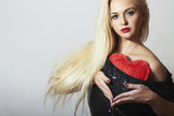 Lovely Beautiful Blond Woman with Red Heart.Valentine's Day