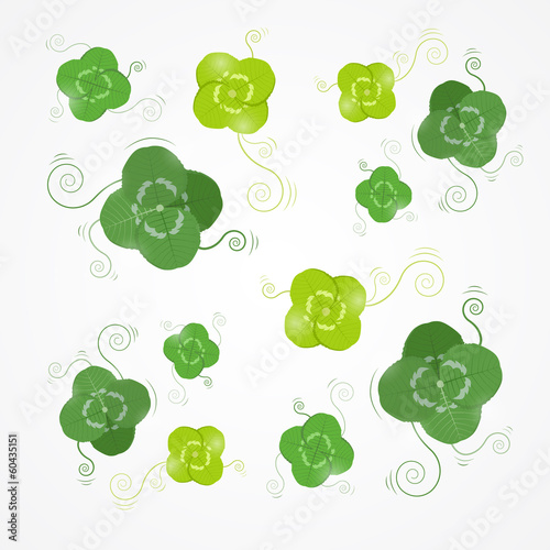 Vector Green Clover Leaves