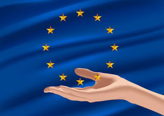 Flag of european union and hand