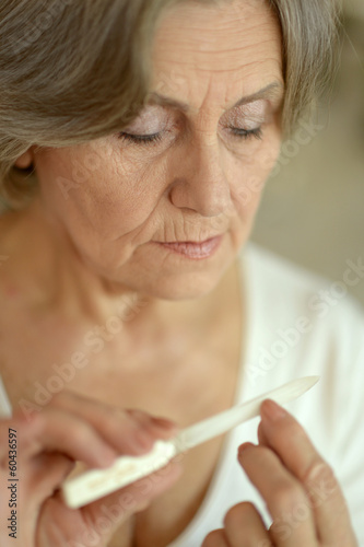 Woman with nail file