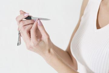 Woman does herself beautiful manicure