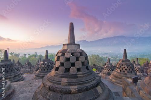 Foto op Plexiglas Indonesië Sunrise Borobudur Temple Stupa in Yogyakarta, Java, Indonesia...