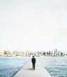 businessman walking to city