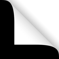 Papier - Ecke oben weiß auf schwarz