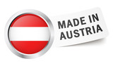 "Button mit Fahne "" MADE IN AUSTRIA """
