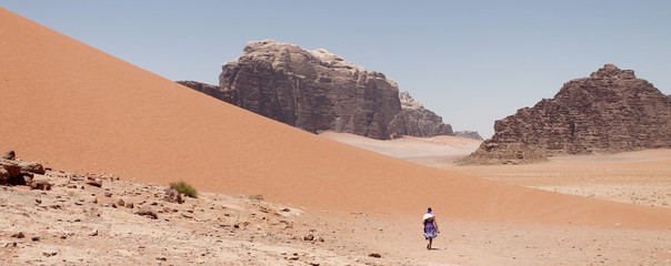 Paseo, desierto, montañas naturales