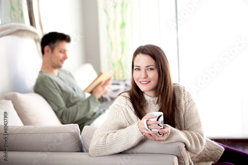 Young couple in a living room