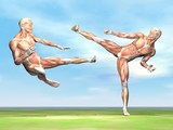 Male musculature fight - 3D render poster