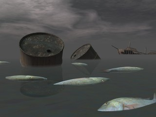 Oil disaster - 3D render