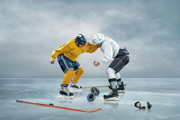 Two ice hockey player boxing on the ice