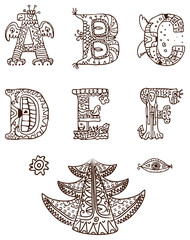 Hand drawn alphabet with ethnic ornaments
