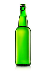 Green bottles of beer on a white background