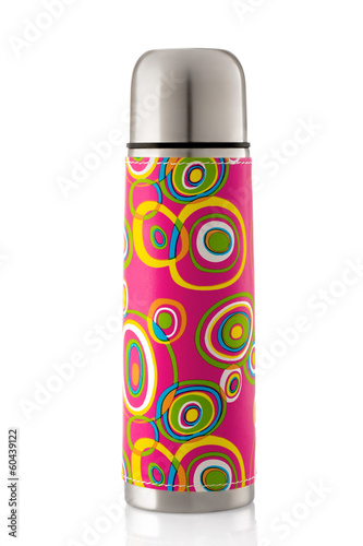 Color thermos isolated on white background