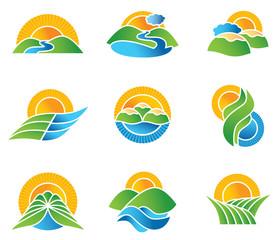 Set of landscape symbols and icons