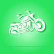 Motorcycle. Paper sticker. Vector illustration.