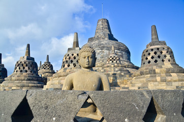 Sunrise Borobudur Temple Stupa in Yogyakarta, Java, Indonesia...