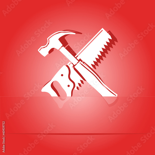 Hand saw and hammer. Paper sticker. Vector illustration.