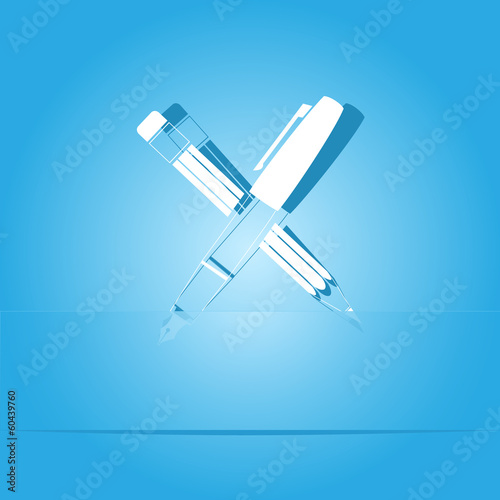 Ink pen and pencil. Paper sticker. Vector illustration.