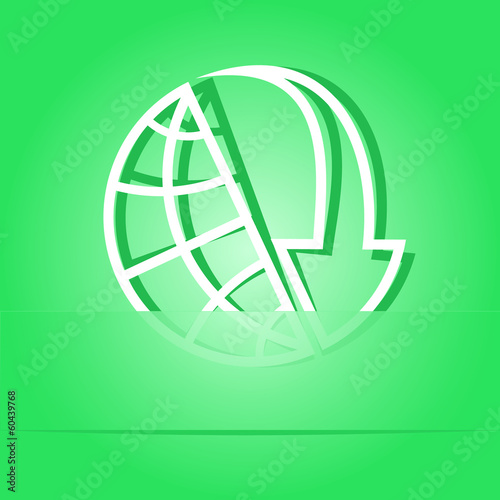Globe and array down. Paper sticker. Vector illustration.