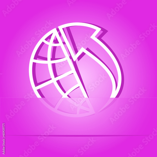 Globe and array up. Paper sticker. Vector illustration.