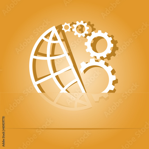 Globe and gear. Paper sticker. Vector illustration.