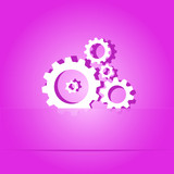 Gears. Paper sticker. Vector illustration.