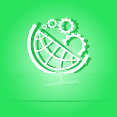 Globe and gears. Paper sticker. Vector illustration.