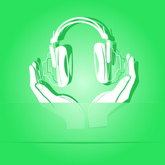 headphones in hands. Paper sticker. Vector illustration.