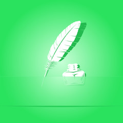 Feather and ink bottle. Paper sticker. Vector illustration.