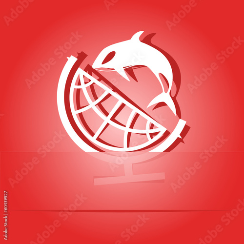 Globe and shamoo. Paper sticker. Vector illustration.