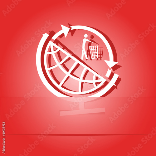Globe and recycling symbol. Paper sticker. Vector illustration.