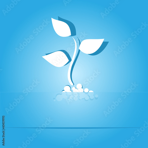 Sprout. Paper sticker. Vector illustration.