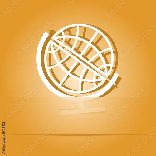 Globe. Paper sticker. Vector illustration.