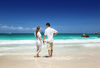 man and woman romantic couple on tropical beach