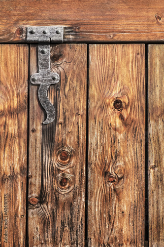 Antique Rustic Pine Wood Door With Wrought Iron Hinge - Detail