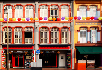 Colorful Shophouses in Singapore Chinatown