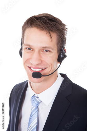 Young Wearing Headset Isolated