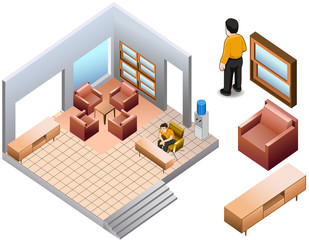 isometric of living home interior