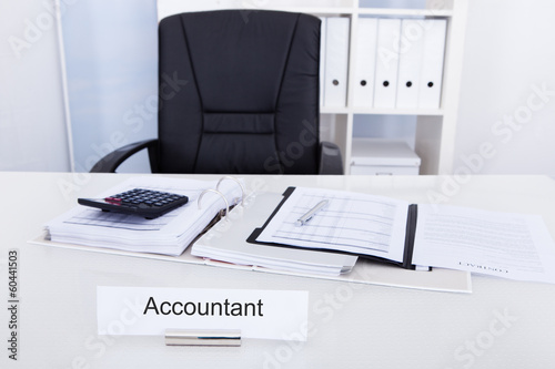 Accountant Name Plate On Desk