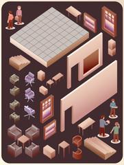 set of custom interior room. detailed vector object