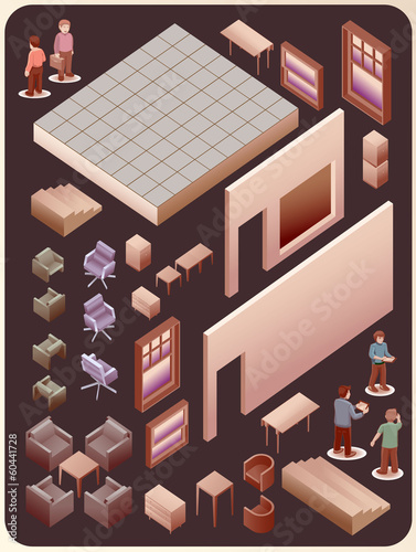 set of custom interior room. detailed vector object