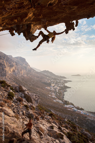 Rock climbers at sunset, Kalymnos Island, Greece