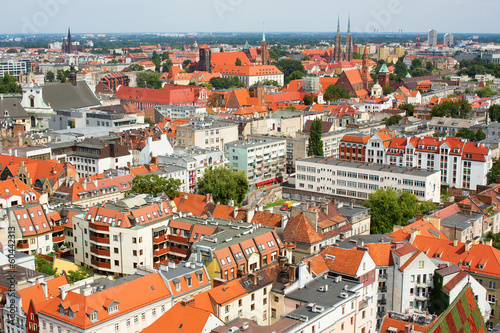 Aerial view of central Wroclaw